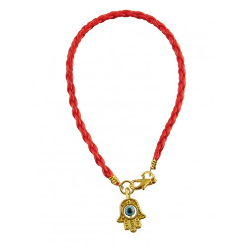 Special Offer! Red Cord Kabbalah Bracelet, Hamsa Charm - Gold