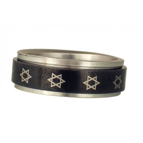 Stainless Steel Black Revolving Star of David Ring