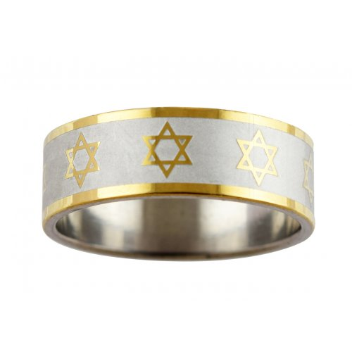 Stainless Steel Flat Two Tone Ring with Stars of David