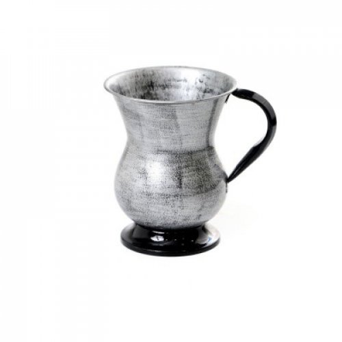 Stainless Steel Wash Cup with Brushed Metal Look - Gray and Black