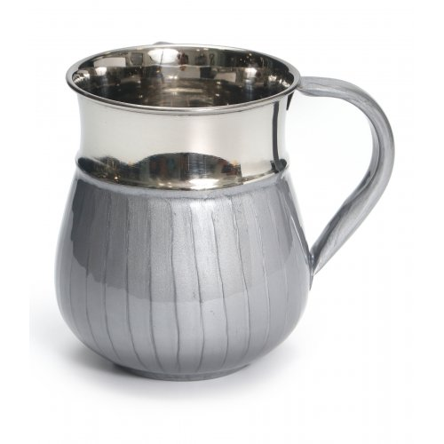 Stainless Steel Wash Cup with Light Gray Enamel