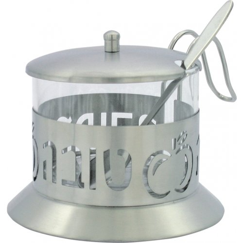 Stainless Steel and Glass Honey Dish with Handle, Lid and Spoon