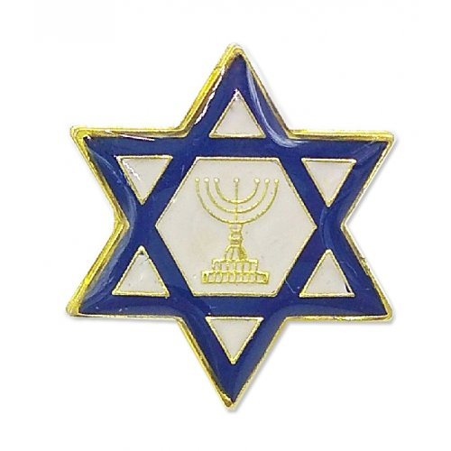 Star of David Blue & White Lapel Pin