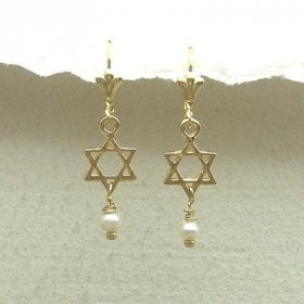 Star Of David Earrings With Pearl By Edita