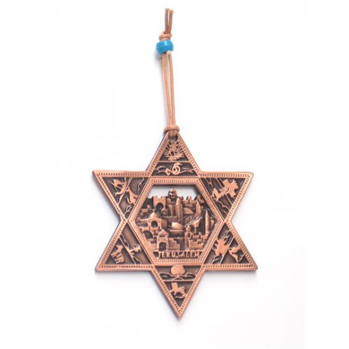 Star of David Wall Decoration with Twelve Tribes and Jerusalem Images - Copper