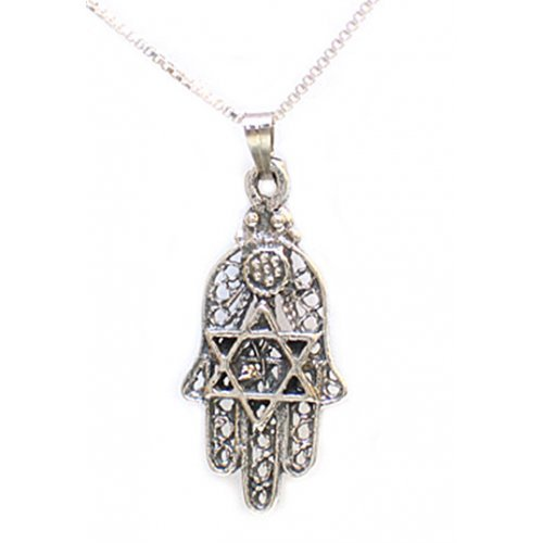 Sterling Silver Hamsa with Star of David Pendant Necklace
