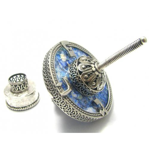 Sterling Silver Hand Made Hanukkah Dreidel on Base - Filigree with Roman Glass