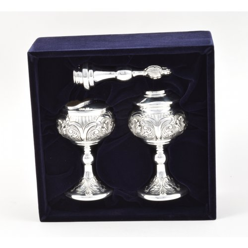 Sterling Silver Havdalah Set with Spice Box and Candle Holder - Swirling Engraving