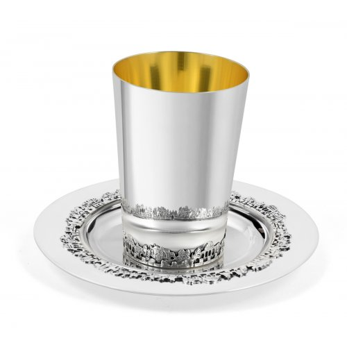 Sterling Silver Kiddush Cup and Matching Coaster - Jerusalem Design