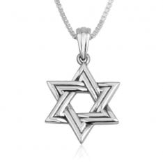 Sterling Silver Pendant Necklace, Star of David Double Line