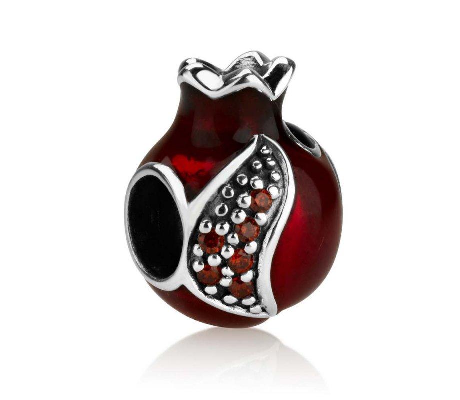 Sterling Silver Red Enamel Pomegranate Charm Ajudaica Com