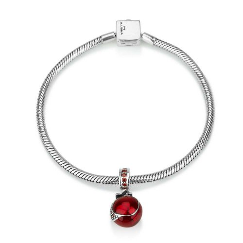 Sterling Silver Red Pomegranate Charm with stones