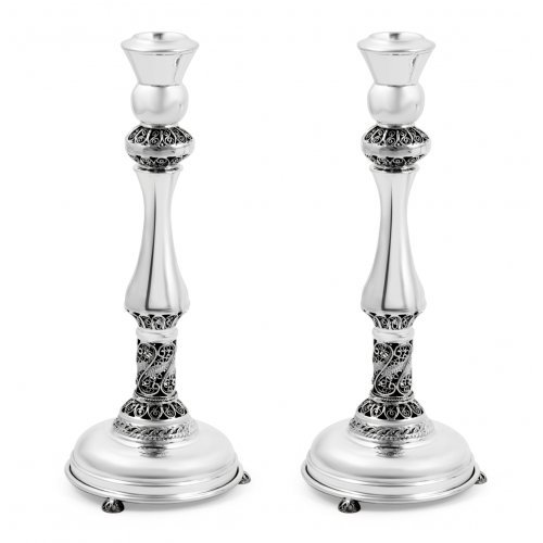 Sterling Silver Shabbat Candlesticks - Filigree Design