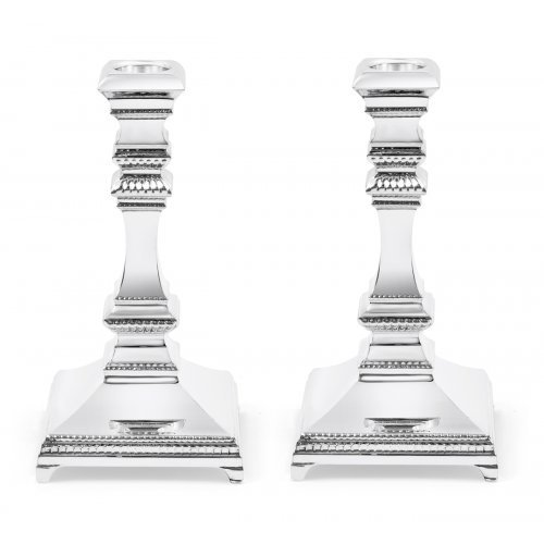 Sterling Silver Shabbat Candlesticks - Smooth Square Design