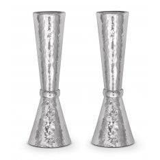 Sterling Silver Shabbat Candlesticks Small - Hammered Design