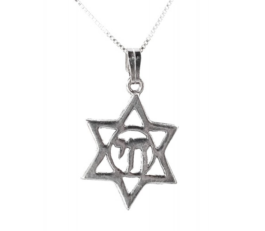 Sterling silver star of david pendant in chai circle ajudaica sterling silver star of david pendant in chai circle aloadofball Image collections