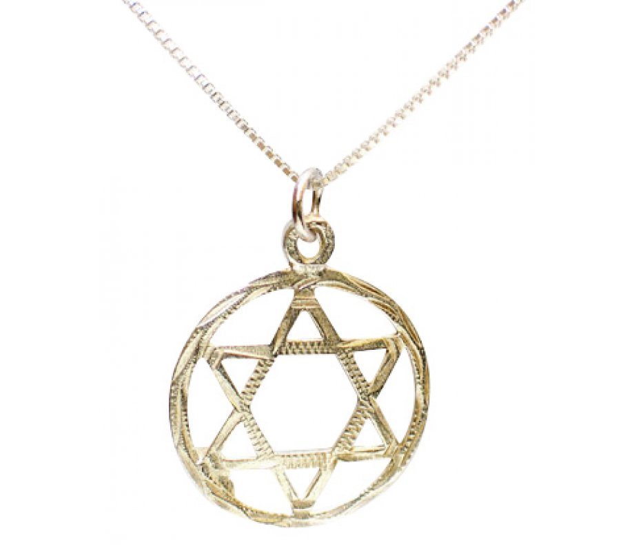 Sterling silver star of david pendant in circle ajudaica sterling silver star of david pendant in circle mozeypictures Choice Image