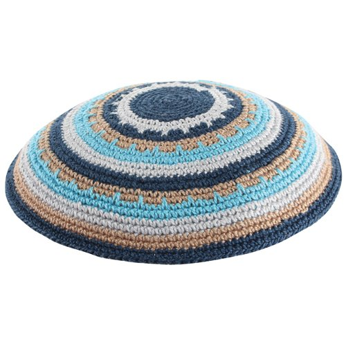 Stripes of Blue and light Brown DMC Knitted Kippah