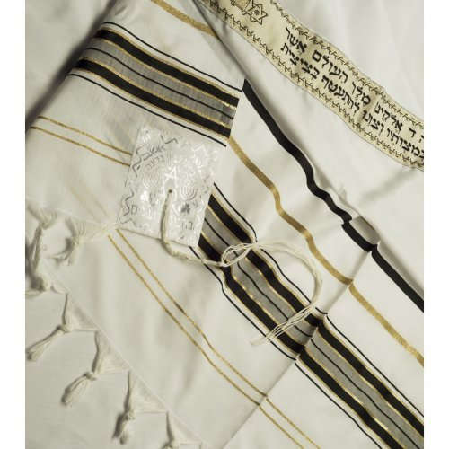 Talitnia Acrylic Imitation Wool Tallit Prayer Shawl - Black & Gold Stripes