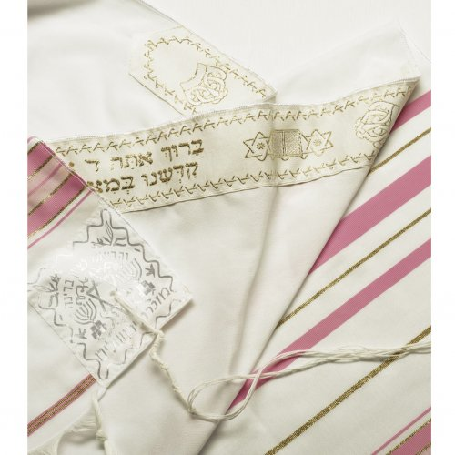 Talitnia Acrylic Tallit Imitation Wool Prayer Shawl - Light Pink & Gold Stripes