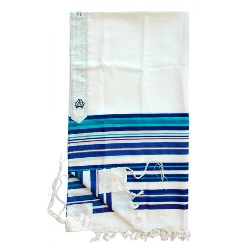 Talitnia Beney Or Tallit - Sons of Light Modern Wool Prayer Shawl - Blue