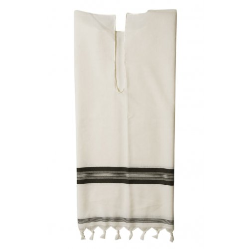 Talitnia White Wool Tallit Katan - Black Stripes