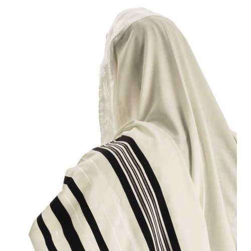 Talitnia Wool Tallit Traditional Kosher Prayer Shawl - Black & White Stripes