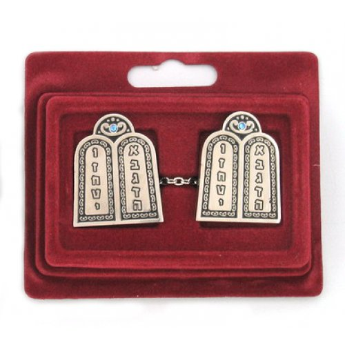 Tallit Prayer Shawl Clips, Nickel Plate - Torah Tablets with Blue Tints