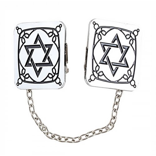 Tallit Prayer Shawl Clips, Nickel Plated - Decorative Star of David