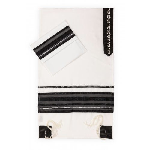 Tallit Set by Ronit Gur in White and Black Gauze Stripes