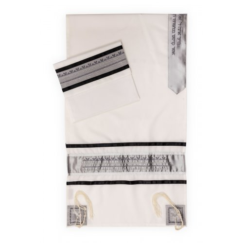 Tallit Set by Ronit Gur in White and Gray Ruched Satin Stripes