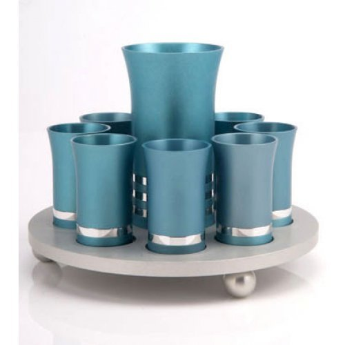 Teal-Silver 9 Kiddush Cup Set by Agayof