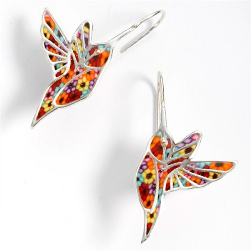 Thousand Flower Hummingbird Earrings SALE PRICE - 1 PAIR LEFT IN STOCK !!!