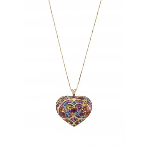 Thousand-Flowers Colorful Heart Pendant