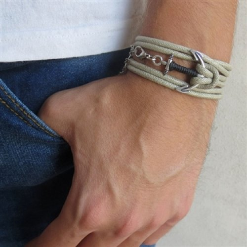 Triple Wrap Bracelet with Silver Plated Anchor