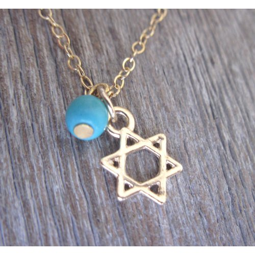Turquoise Anklet with Star of David by Gali's