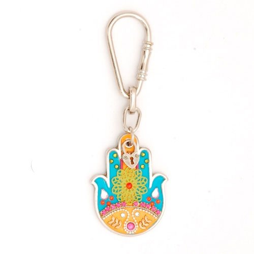 Turquoise Flower Hamsa Keychain by Ester Shahaf