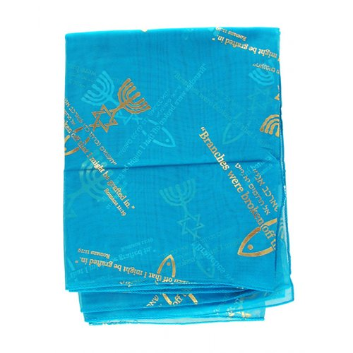 Turquoise Woman's Head Covering Scarf - Fish design