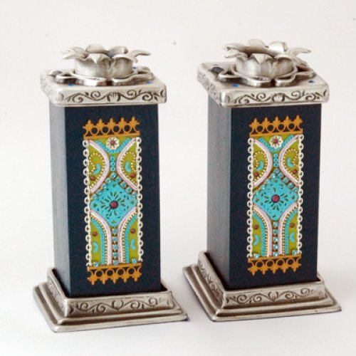 Turquoise-Black Candlesticks by Ester Shahaf