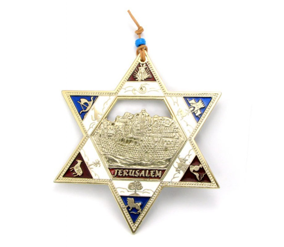 Twelve Tribes Star Of David With Jerusalem Background Ajudaica