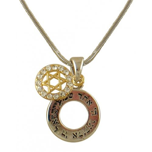 Two Part Shema Rhodium Necklace with Gold Star of David
