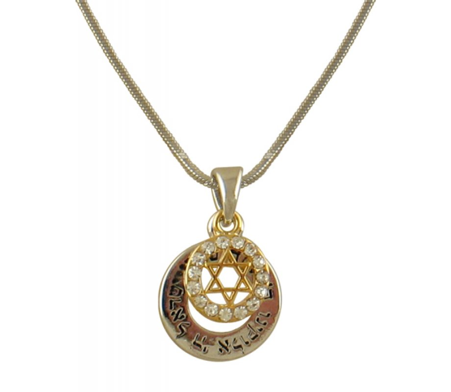 Two part shema rhodium necklace with gold star of david ajudaica two part shema rhodium necklace with gold star of david aloadofball Images