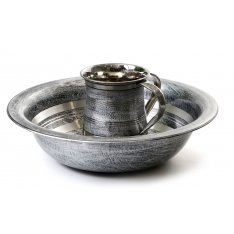 Two Tone Netilat Yadayim Wash Cup and Matching Bowl - Gray and Silver