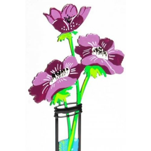 Tzuki Art Hand Painted Flower Tube Sculpture - Purple Anemone