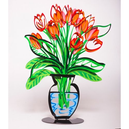 Tzuki Art Hand Painted Flower Vase Sculpture with Stand - Red Tulips