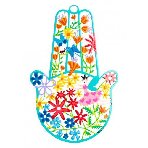 Tzuki Art Hand Painted Hamsa Flower Display - Turquoise