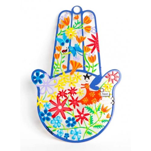Tzuki Art Hand Painted Hamsa Hand Colorful Flower Display - Blue Frame
