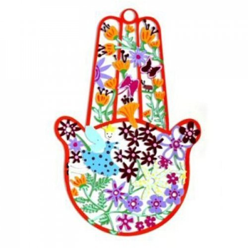 Tzuki Art Hand Painted Hamsa Hand Colorful Flower Display - Red Frame