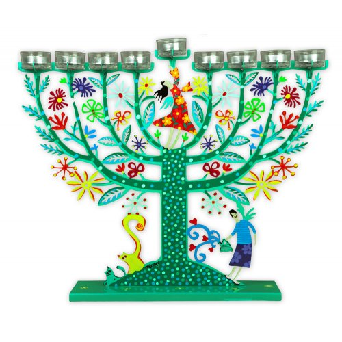Tzuki Art Hand Painted Hanukkah Menorah, Two Women on Flowery Tree - Green