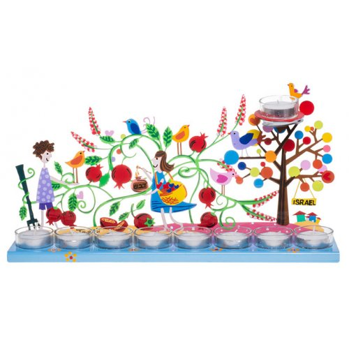 Tzuki Art Hand Painted Hanukkah Menorah Youngsters in Pomegranate Garden - Blue